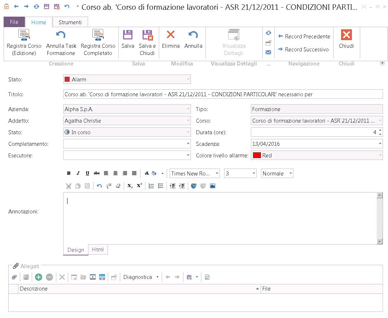Schermata di dettaglio di una scadenza di tipo Formazione